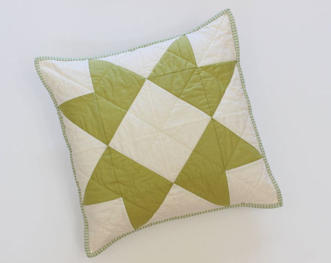 Green Quilted Star Throw Pillow