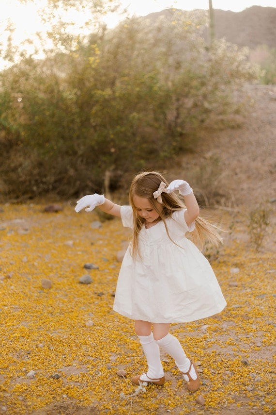 Girls White Dress - Blouse for Child - White Organic Cotton Top - Child Clothes - Simple  Dress 3-5 Years - A Closet Staple