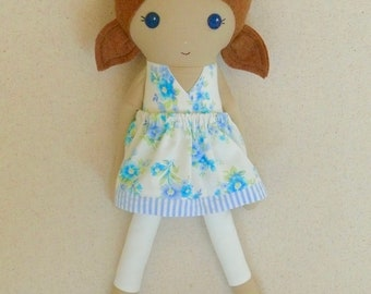 Fabric Doll Rag Doll 20 Inch Brown Haired Girl in Old Fashioned Blue Floral Sundress with Blue Shoes