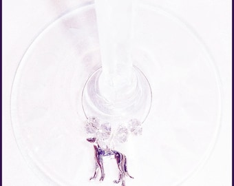 Greyhound Dog Wine Charms - 4/pack