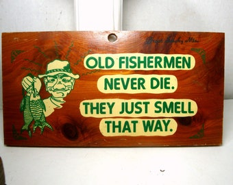 Fishermen Wall Plaque, 1950s Decals on Rectangle Knotty Pine Wood , Fun Retro Insult, When Politically Incorrect was the NORM