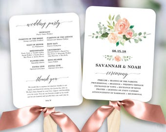 Printable wedding program fan template fan wedding programs peach blush floral wedding program fan template printable fan wedding programs diy wedding fans solutioingenieria Images