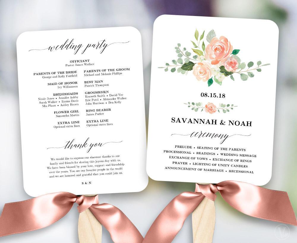 Peach Blush Floral Wedding Program Fan Template Printable Fan