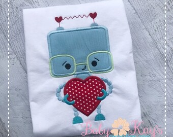 Valentine Robot with Heart Applique Design 4x4, 5x7, 6x10, 8x8