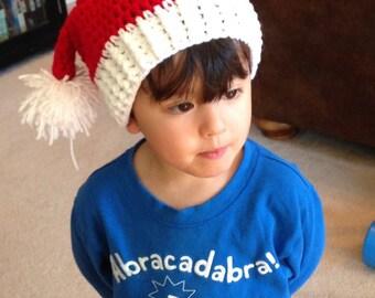 Christmas Baby Santa Hat, Crochet Baby Santa Hat, Baby Elf Hat, Toddler, Christmas Stocking Hat, Christmas Photo Prop,