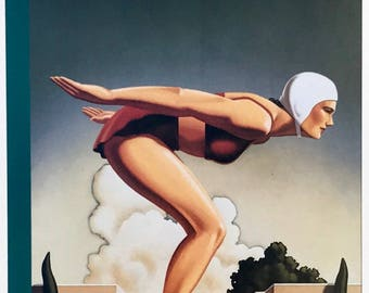 Postcard featuring a famous 'New Yorker' cover - swimmer diving. BIG discount for multiple purchases!!