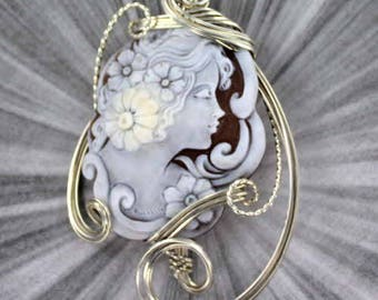 Large Cameo Pendant Necklace in Sterling Silver Wire Wrapped, hand carved shell cameo