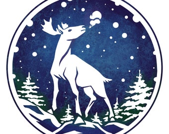 Winter Stag Greeting Card