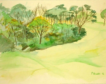 Flagstaff Hill watercolor of Schenley Park in Pittsburgh