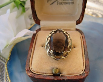 Vintage 9ct Gold Smokey Quartz Solitare Ring, Size N, Statement Ring, Engagement Ring, Vintage, Antique, Smokey Quartz
