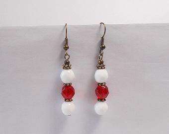 Dangle bronze earrings, Bohemian red, white