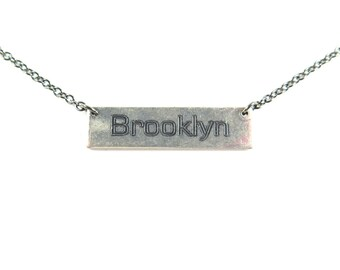 Engraved Brooklyn Necklace - Antiqued Gold Or Antiqued Silver Plated