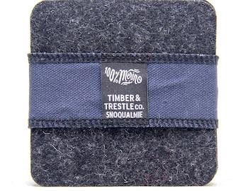Square Merino Wool Felt Coaster Set – Charcoal Gray – 5MM Thick