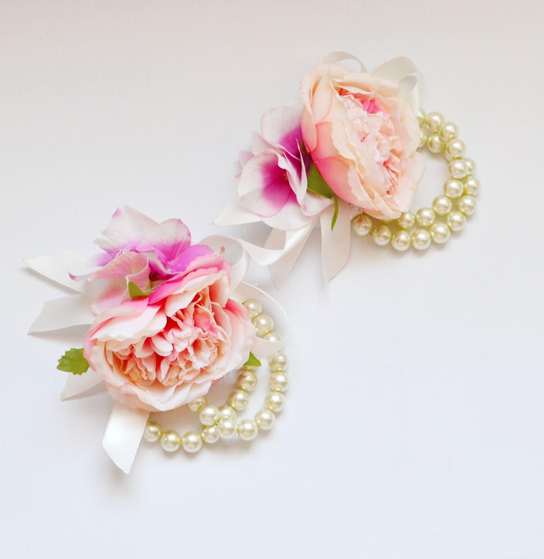 Blush Pink Cabbage Rose Wrist Corsage Pearl Bracelets Wedding
