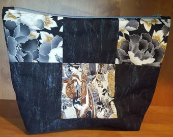 Black and Silver Quilted Zipper Pouch, Make-Up Bag, Travel Bag, Electronic Case, Cord Storage, Tablet Case, Phone Holder