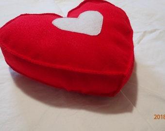 Red heart, felt pillow