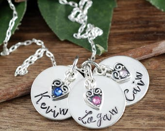 Personalized Name Necklace with Birthstones, Personalized Jewelry, Mothers Necklace, Mothers Day Gift, Hand Stamped Necklace for Mom