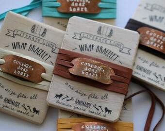 Courage Dear Heart Narnia Bracelet Aslan Leather Wrap Encouragement Gift  Gifts Under 30