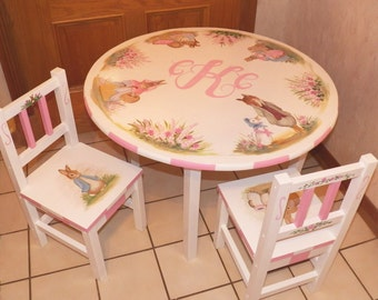 Custom Designed Bunny Rabbit Table and Chair set with monogrammed center inspired by Peter Rabbit