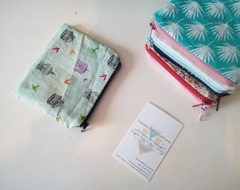 Small pouch / wallet cotton printed birdcages lined