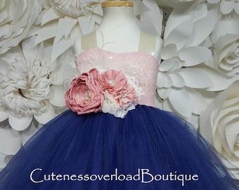 Navy Flower Girl Tutu Dress-Navy Tutu Dress-Navy Tutu-Navy Dress-Navy Girl Tutu-Navy Wedding Dress-Navy Bride Dress-Navy Baby Dress-Navy
