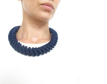 Navy Blue Rope necklace Navy Blue statement necklace Knot Rope Necklace
