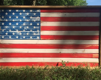 American Flag Wall Art - US Flag Art - Americana - USA - Flag - Wood Flag - Reclaimed Wood Flag - Farmhouse Decor - July 4th