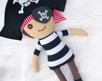 Handmade pirate boy cloth doll, Heirloom Doll, Handmade Doll, Toddler boy Gift, Birthday or Baby Shower gift, pirate party Gift, Easter gift