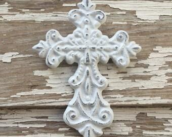 Small White Distressed Cast Iron Wall Decor Cross