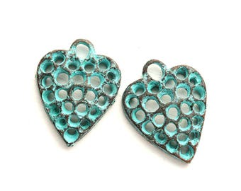 Green Patina Filigree Heart charms Copper Heart pendant beads Greek metal casting boho jewelry charms, Lead Free - F647