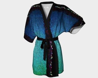 Blue Yonder' Kimono Robe
