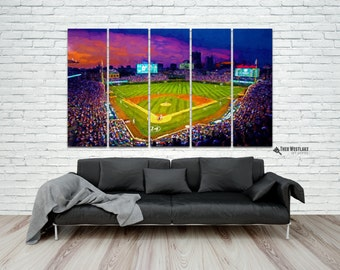 Wrigley Field Canvas Print, Cubs Baseball Canvas, World Series Champions, Premium Gallery Wrap, Ready to Hang