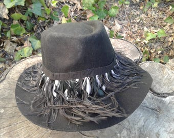 Black Cowboy with Long and Flowy Feathers