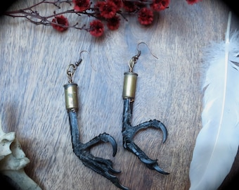 Real English crow feet earrings recycled taxidermy bird raven claw witch earrings pagan taxidermy jewelry
