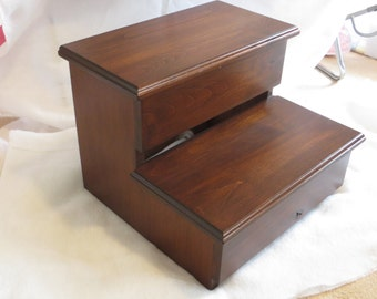 XL Adult Size Step Stool Alder hardwood WOOD - Kitchen Pantry Closet Bed Bathroom - Great for 2 KIDS too - Modern Simple & Classic!