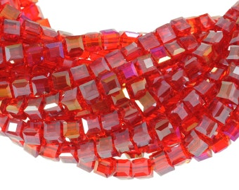 """6mm Bright Cherry Red Crystal Cubes with AB Finish 5601 - Full 16"""" Strand - About 61 Beads"""