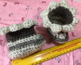 Crocheted booties, shoes for Waldorf dolls, clothes, accessories