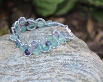 Fluorite N Silver, Lace Bracelet, Gemstone Bracelet