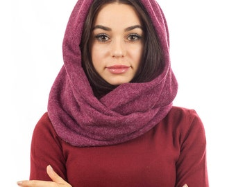Women hooded scarf Burgundy snood scarf oversized scarf winter hooded scarf neck  wrap christmas gift women shawl scarf wool hooded scarf