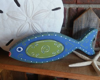 Painted Fish Shelf Sitter/wood/ one of a kind