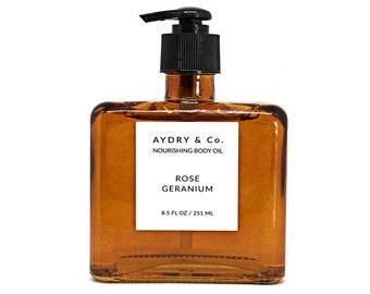 Rose géranium nourrissant huile pour le corps