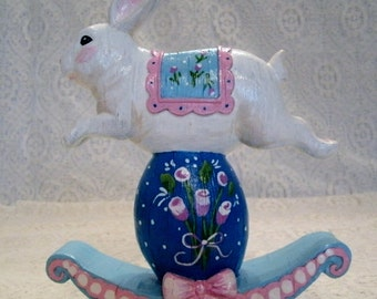 Handpainted Easter Bunny Figurine, home decor cottage chic decoration animal springtime decorative painting holiday rabbit