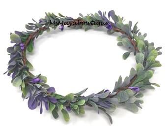 Leaf crown wreath, boho leaf crown, purple bridal crown, bridemaids flower crown, leaf  wedding crown, leaves crown, boho crown, wedding