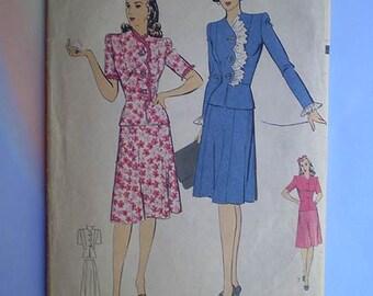 Vintage 40s Hollywood Pattern Peplum Suit 34 Bust