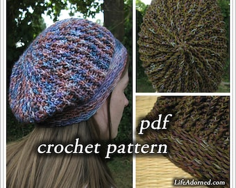 Crochet Pattern pdf - Ridges Slouch Hat