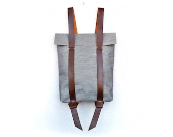 Canvas rucksack with leather straps, personalized bag, minimalist backpack, Custom rucksack 201