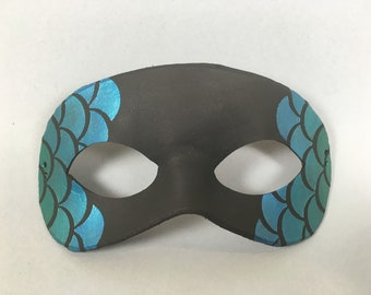Mermaid Inspired Green, Blue Leather Masquerade Mask