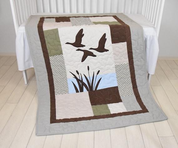 Duck Baby Quilt Hunting Theme Crib Bedding,  Hunter Nursery, Woodland Crib Bedding for Baby Boy, Forest Blanket,  gray, green, beige, brown
