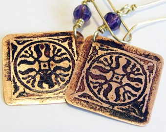 Etched Copper Earrings Purple Medallions - Free Domestic Shipping