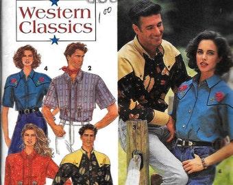 Simplicity 8190 Sewing Pattern Western Wear Cowboy Shirts Men Women UNCUT Size XS, S & M